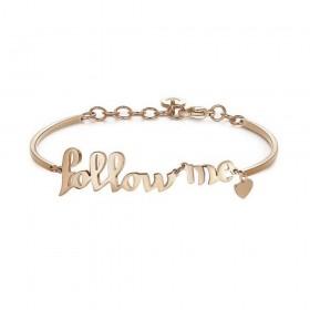 Bracciale donna BROSWAY CHAKRA in acciaio oro rosa con scritta Follow Me BHK295