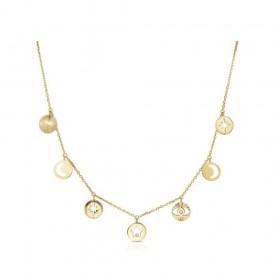 Collana donna BROSWAY CHANT in acciaio oro pendenti e cristalli BAH02