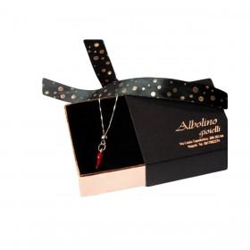 Collana pendente GIOIELLERIA ALBOLINO in argento con cornetto rosso 0200