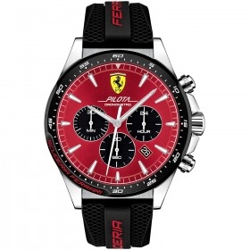 SCUDERIA FERRARI PILOT men's chronograph watch in steel and leather FER0830595