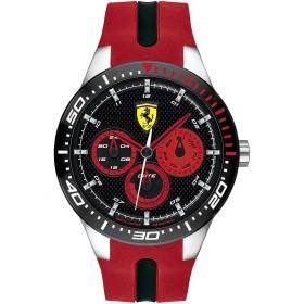 SCUDERIA FERRARI REDREV men's multifunction watch in steel and leather FER0830586