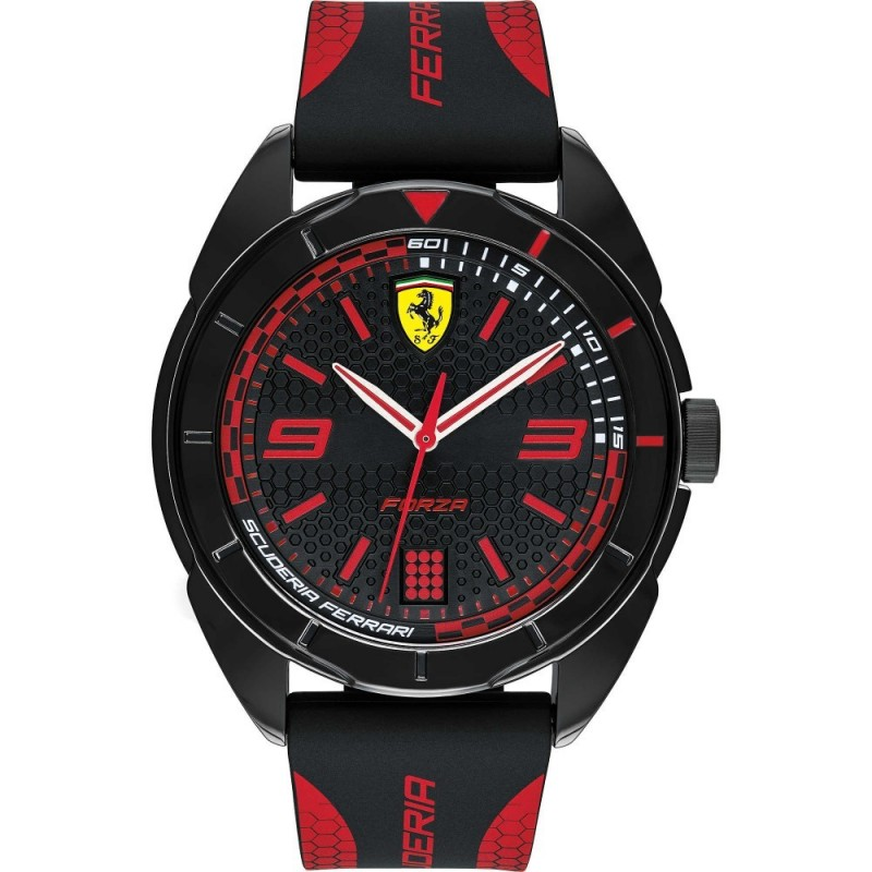 Men's Only Time Watch SCUDERIA FERRARI FORZA in steel and black and red silicone FER0830515