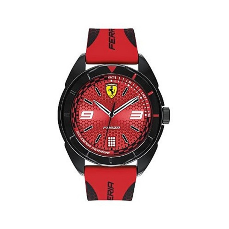 Men's Time Only Watch SCUDERIA FERRARI FORZA in steel and red silicone FER0830517