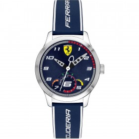 Men's Only Time Watch SCUDERIA FERRARI PITLANE in steel and blue leather FER0860005