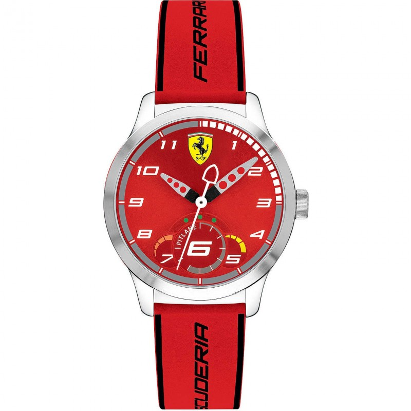 Men's Only Time Watch SCUDERIA FERRARI PITLANE in steel and red leather FER0860004