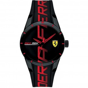 SCUDERIA FERRARI REDREV men's Time Only Watch in steel and silicone FER0830614
