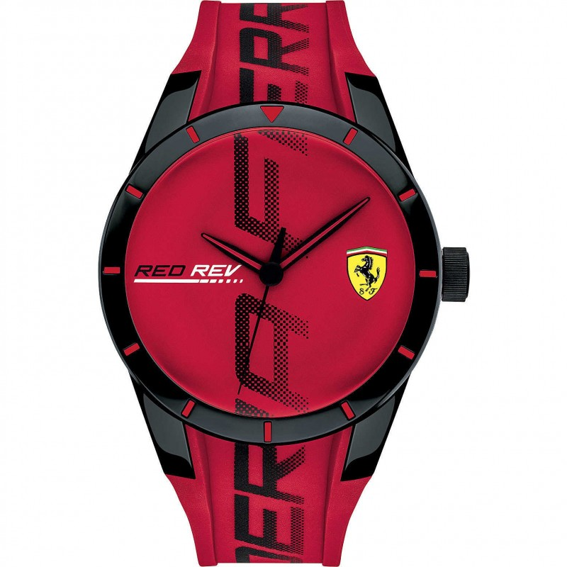 SCUDERIA FERRARI REDREV men's Time Only Watch in steel and red silicone FER0830617