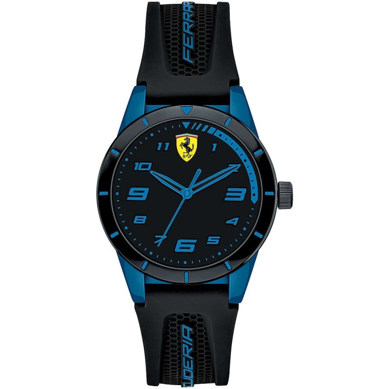 SCUDERIA FERRARI REDREV man's Time Only Watch in steel and black and blue silicone FER0860007