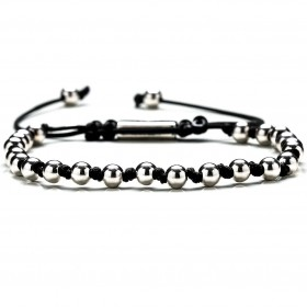 GERBA BALL men's bracelet in steel and macramé BALLSILVER