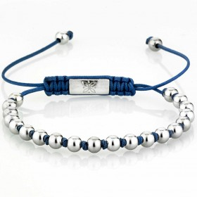 GERBA BALL SILVER BLUE men's bracelet in silver and blue macramé BALLSILVER-BLUE