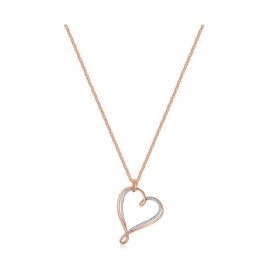 Woman necklace with BROSWAY RIBBON heart in rose gold brass and zirconia BBN08
