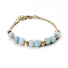 BROSWAY TRES JOLIE women's bracelet in gold PVD steel and aquamarine BTJMP024