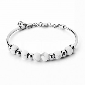 BROSWAY TRES JOLIE women's bangle in stainless steel and white howlite BTJMP026