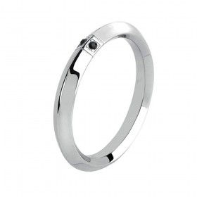 BROSWAY ONE men's ring in steel and swarovski jet BON32B