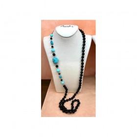 Collana da donna MARAKÒ con pietre naturali nere e turchesi CN3345