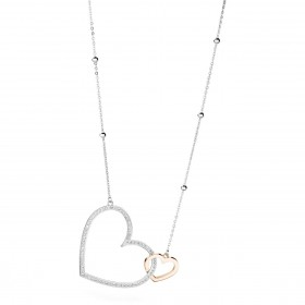 BROSWAY MINUETTO women's necklace pink gold PVD hearts with BMU01 crystals