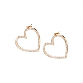 BROSWAY MINUETTO earrings in rose gold PVD steel hearts with BMU22 crystals