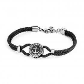 BROSWAY NAUTILUS man bracelet black steel black enamel BNU14 cord