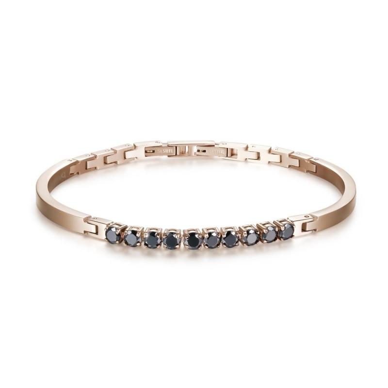 BROSWAY AVANTGARDE man bracelet rose gold pvd steel with BVD19 zircons