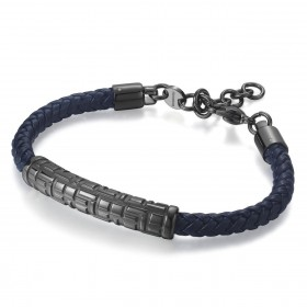 BROSWAY DEDALO man bracelet in leather and pvd gun BED12 steel