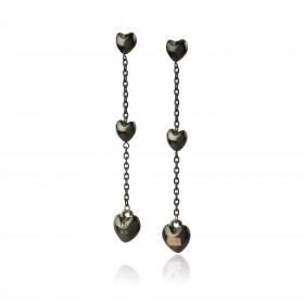 Orecchini donna pendenti BREIL KILOS OF LOVE in acciaio ip nero TJ2732