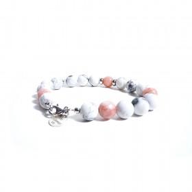 Bracciale da donna GIOIELLERIA ALBOLINO con pietre naturali bianche e rosa ALBN-21