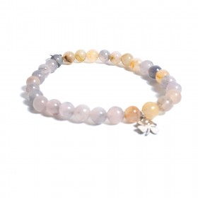 Woman ALBOLINO elastic bracelet with natural stones and four-leaf clover ALBN-25