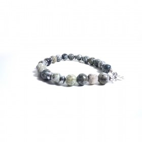 Silver men's bracelet ALBOLINO JEWELRY with natural stones ALBN-28