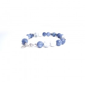 Silver man bracelet ALBOLINO JEWELERY with natural blue stones ALBN-27