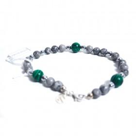 Silver man bracelet ALBOLINO JEWELERY with gray natural stones ALBN-30