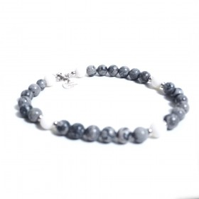 Silver men's bracelet GIOIELLERIA ALBOLINO with gray natural stones ALBN-31