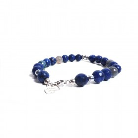 Silver men's bracelet GIOIELLERIA ALBOLINO with natural blue stones ALBN-35