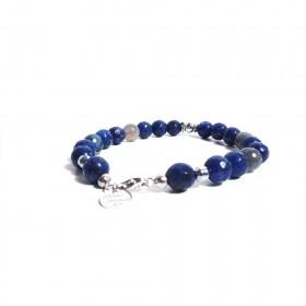 Silver men's bracelet GIOIELLERIA ALBOLINO with natural blue stones ALBN-35