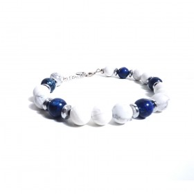 Silver man bracelet GIOIELLERIA ALBOLINO with white and blue natural stones ALBN-36