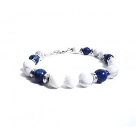 Silver man bracelet GIOIELLERIA ALBOLINO with white and blue natural stones ALBN-36