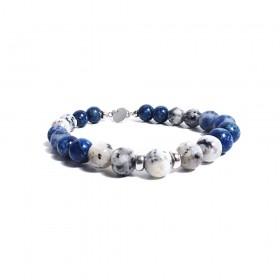 Bracciale da uomo GIOIELLERIA ALBOLINO con pietre naturali bianche e blu ALBN-39