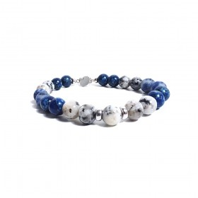 GIOIELLERIA ALBOLINO men's bracelet with white and blue natural stones ALBN-39