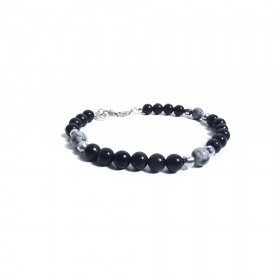 Silver men's bracelet GIOIELLERIA ALBOLINO with natural black stones ALBN-38