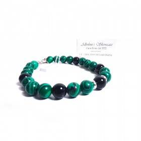 GIOIELLERIA ALBOLINO men's silver bracelet with natural green and black stones ALBN-37