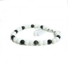 Silver man bracelet GIOIELLERIA ALBOLINO with white and black natural stones ALBN-41