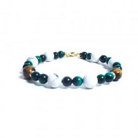 Silver men's bracelet GIOIELLERIA ALBOLINO with natural stones ALBN-45