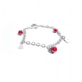 Pulsera de plata para mujer ALBOLINO JOYERÍA con piedras rojas y encanto ALBN-54