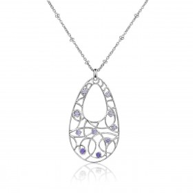 BROSWAY woman's necklace with brass and purple zirconia BTU02 pendant