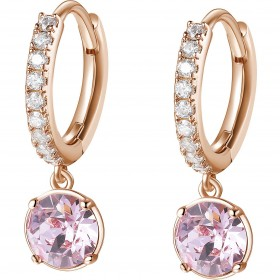 BROSWAY AFFINITY women's pendant earrings in pink brass and BFF139 crystals