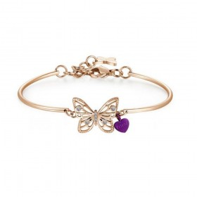 BROSWAY woman butterfly semi rigid bracelet in crystals steel and purple heart BHK403